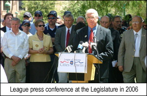 League press conference at the Legislature in 2006.